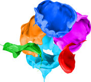 Colored paint splashes isolated on white background Stock Photos