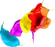 Colored paint splashes isolated on white background Royalty Free Stock Images