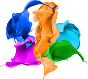 Colored paint splashes isolated on white background Stock Photo