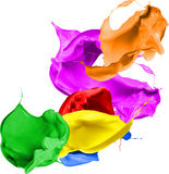Colored paint splashes isolated on white background Stock Photo