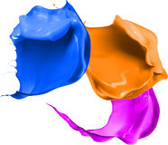 Colored paint splashes isolated on white background Royalty Free Stock Photography
