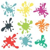 Colorful paint blots or splashes . Drops and stains. Paint splash or splat, splattered ink, dirty blots artistic elements. Colored paint splashes . Paint splash Royalty Free Stock Photo