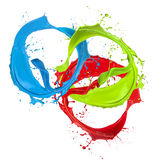 Colored paint splashes rings Royalty Free Stock Photo