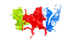 Colored paint splashes Stock Photos