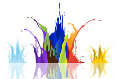 Colored paint splashes  on white background , illustrations Royalty Free Stock Image