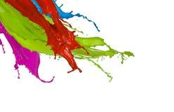 Colored paint splashes on white background. Colored paint splashes isolated on white background Stock Photo