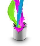 Colored paint splashing out of can Royalty Free Stock Photos