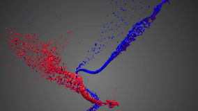 Colored paint streams. Two streams of paint. 3d abstract motion graphics. Full Hd stock footage