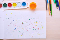 Colored paint on a white sheet royalty free stock photo