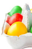 Colored painted eggs in a basket. Isolated colored painted eggs in a basket at Easter Royalty Free Stock Photos