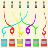Colored Painting Brush Stock Photography