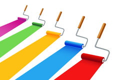 Colored painting rollers Stock Images