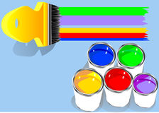 Colored paints in blue background Stock Images
