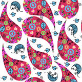 Colored Paisley seamless pattern and seamless pattern in swatch royalty free illustration