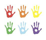 Vector background, color prints of hands symbolizes friendship. colored palms in paint. Colored palms in paint. Vector background, color prints of hands Vector Illustration