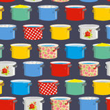 Colored pans.  Seamless pattern for kitchen. Vector illustration Royalty Free Stock Image