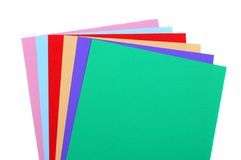 Colored paper. Different colored sheets of paper over a white background Stock Images