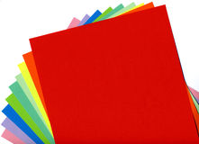 Colored paper. Arranged in a fan Stock Photo