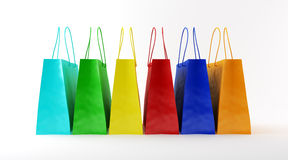 Colored paper bags. Three-dimensional models of paper bags for shopping on a white background Royalty Free Stock Photography