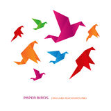 Colored paper birds Stock Photography