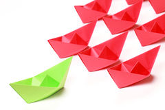 Colored paper boats Stock Photos