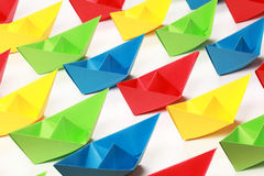 Colored paper boats Royalty Free Stock Photography
