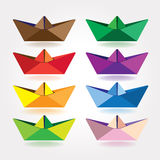 Colored paper boats royalty free illustration
