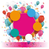 Colored Paper Circles Balloons Percents Banner. Colored paper circles with colored balloons and percents on the white Royalty Free Stock Images