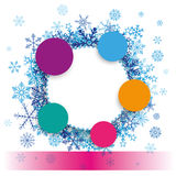 Colored Paper Circles Snowflakes Banner Royalty Free Stock Images