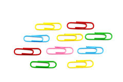 Colored paper clip. On white Royalty Free Stock Image