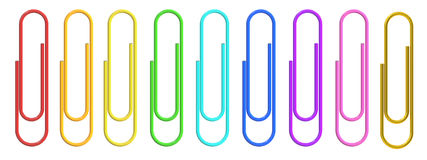 Colored Paper Clips closeup, 3D rendering. Colorful Paper Clips closeup, 3D rendering on white background Royalty Free Stock Image