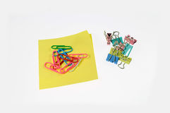 Colored paper clips and color clip Royalty Free Stock Photography