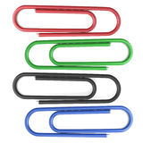 Colored paper clips. Isolated on white background. 3d illustration Stock Images