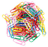 Colored paper clips. Isolated on white background Royalty Free Stock Images