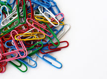 Colored paper clips Stock Photo