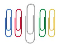 Colored paper clips red, green, blue, yellow. Flat style. Vector. vector illustration