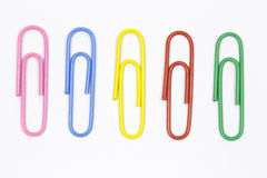 Colored paper clips Royalty Free Stock Photos