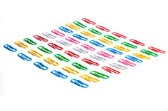 Colored paper clips Royalty Free Stock Images