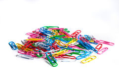 Colored paper clips Stock Photography