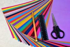 Colored paper for creativity in the form of sheets for writing. Colored paper for creativity in the form of sheets, for writing, drawing, packaging, cutting royalty free stock image