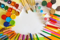 Free Colored Paper, Felt-tip Pens, Pencils, Brushes And Gouache Frame Royalty Free Stock Photo - 65892575