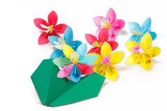 Colored paper flowers and green paper plane Stock Image