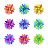 Colored paper flowers set. Spring vector design elements. Stock Photos