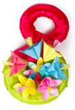 Colored paper flowers and symbol for 8 of March Royalty Free Stock Photography