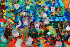 Colored paper houses handmade Royalty Free Stock Images