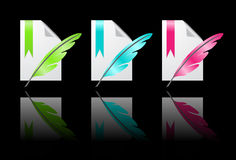 Colored paper icons with pen Stock Images