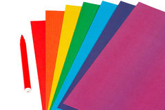 Colored paper and marker for creativity Royalty Free Stock Image
