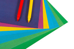 Colored paper and markers Royalty Free Stock Photo