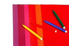 Colored paper and markers Royalty Free Stock Photography