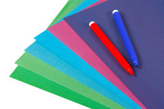 Colored paper and markers for creativit Stock Photography